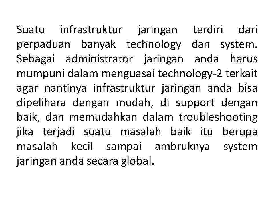 Suatu infrastruktur jaringan terdiri dari perpaduan banyak technology dan system.