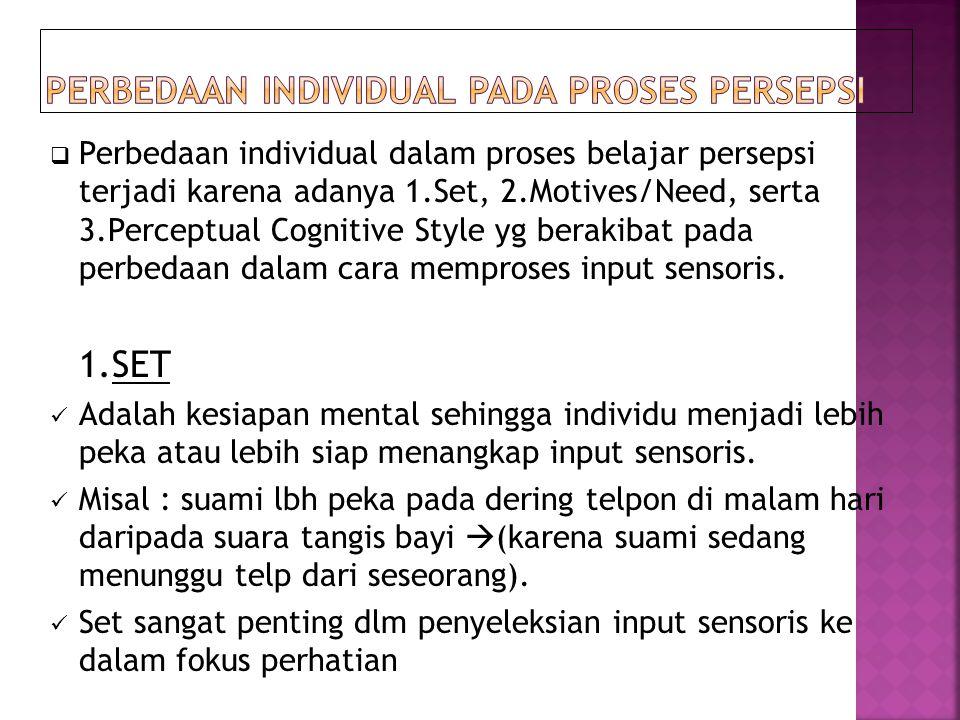  Perbedaan individual dalam proses belajar persepsi terjadi karena adanya 1.Set, 2.Motives/Need, serta 3.Perceptual Cognitive Style yg berakibat pada