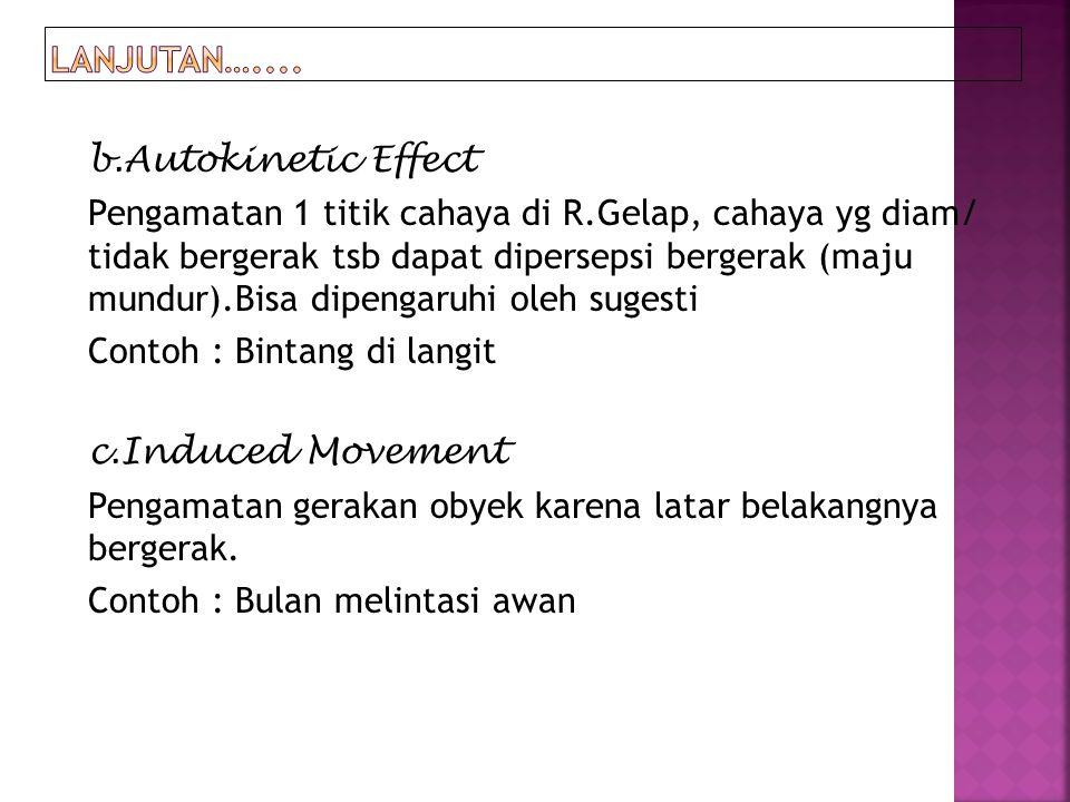 b.Autokinetic Effect Pengamatan 1 titik cahaya di R.Gelap, cahaya yg diam/ tidak bergerak tsb dapat dipersepsi bergerak (maju mundur).Bisa dipengaruhi