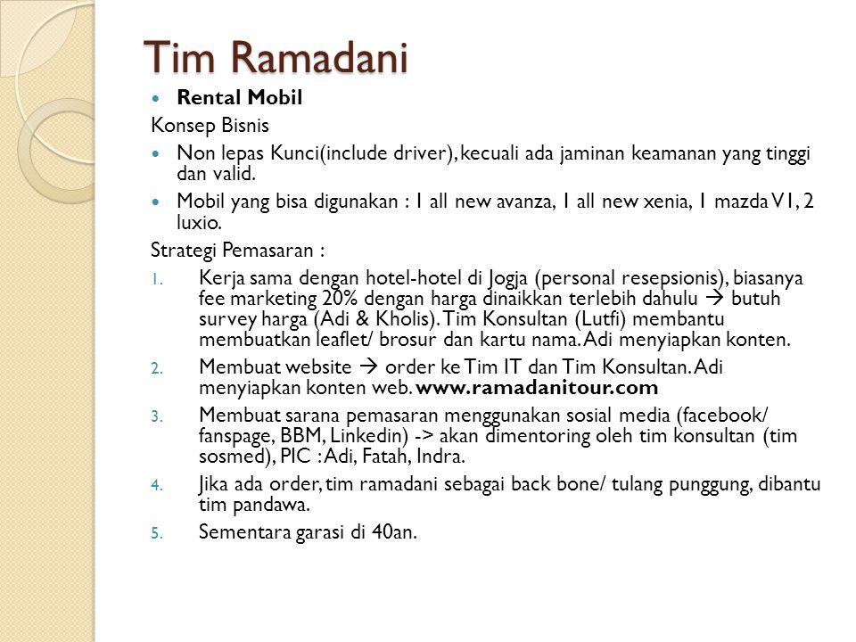 Tim Ramadani Rental Mobil Konsep Bisnis Non lepas Kunci(include driver), kecuali ada jaminan keamanan yang tinggi dan valid.