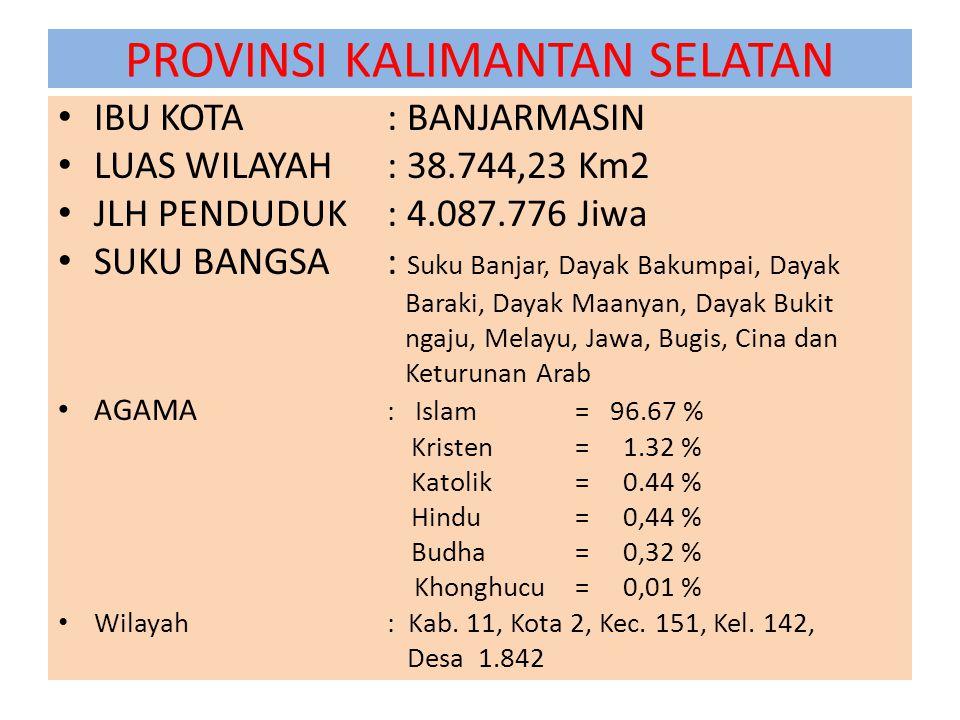 PROVINSI KALIMANTAN SELATAN IBU KOTA : BANJARMASIN LUAS WILAYAH : 38.744,23 Km2 JLH PENDUDUK : 4.087.776 Jiwa SUKU BANGSA: Suku Banjar, Dayak Bakumpai