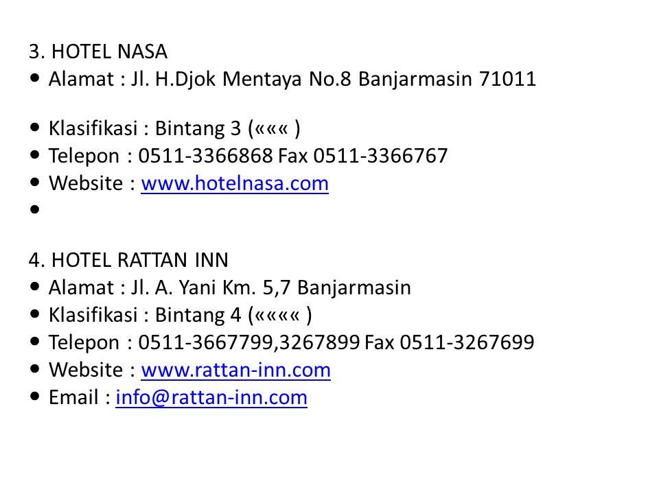 3. HOTEL NASA Alamat : Jl. H.Djok Mentaya No.8 Banjarmasin 71011 Klasifikasi : Bintang 3 (««« ) Telepon : 0511-3366868 Fax 0511-3366767 Website : www.
