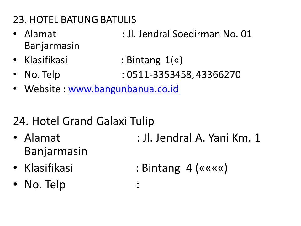 23. HOTEL BATUNG BATULIS Alamat : Jl. Jendral Soedirman No. 01 Banjarmasin Klasifikasi : Bintang 1(«) No. Telp : 0511-3353458, 43366270 Website : www.