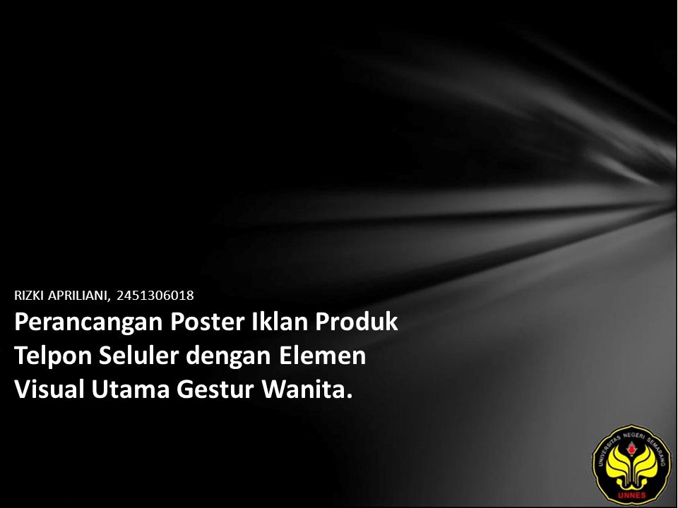 RIZKI APRILIANI, 2451306018 Perancangan Poster Iklan Produk Telpon Seluler dengan Elemen Visual Utama Gestur Wanita.