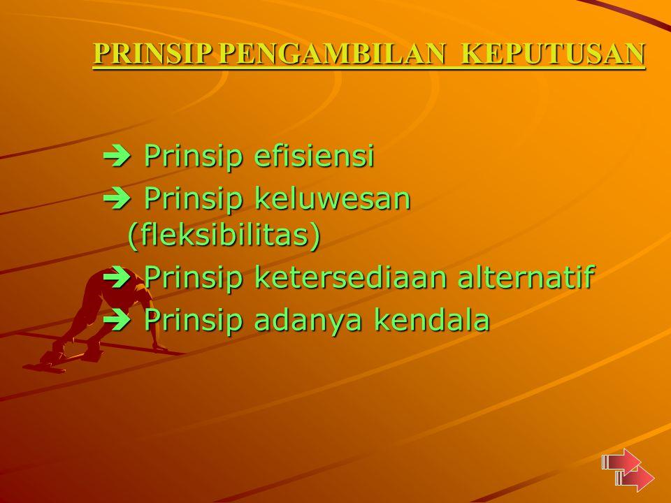  Prinsip efisiensi  Prinsip keluwesan (fleksibilitas)  Prinsip ketersediaan alternatif  Prinsip adanya kendala PRINSIP PENGAMBILAN KEPUTUSAN