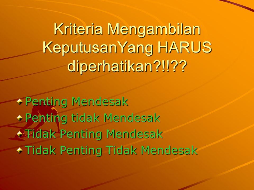 Kriteria Mengambilan KeputusanYang HARUS diperhatikan?!!?? Penting Mendesak Penting tidak Mendesak Tidak Penting Mendesak Tidak Penting Tidak Mendesak