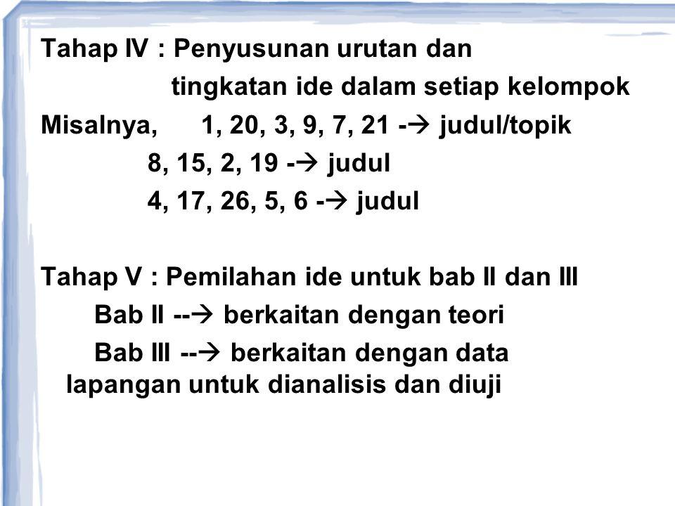 Tahap IV : Penyusunan urutan dan tingkatan ide dalam setiap kelompok Misalnya, 1, 20, 3, 9, 7, 21 -  judul/topik 8, 15, 2, 19 -  judul 4, 17, 26, 5,