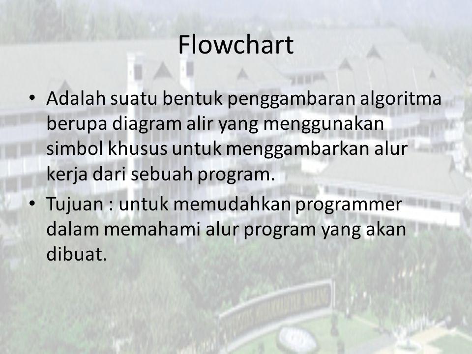 Flowchart Adalah suatu bentuk penggambaran algoritma berupa diagram alir yang menggunakan simbol khusus untuk menggambarkan alur kerja dari sebuah program.