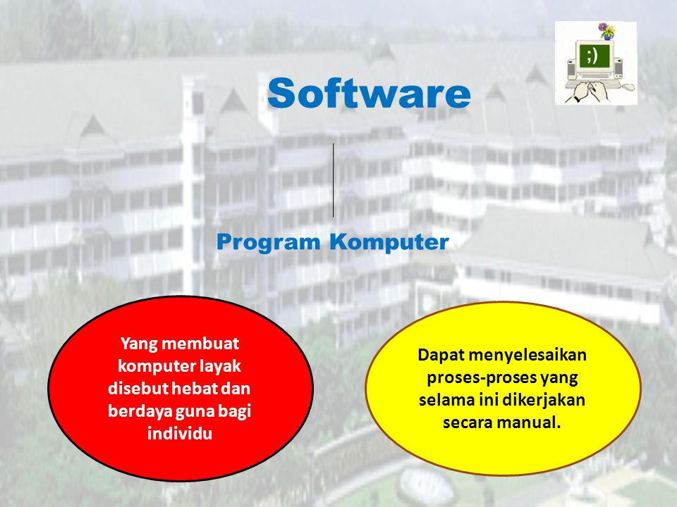 Program Komputer Program komputer : kumpulan perintah yang diberikan pada komputer agar dapat mengerjakan perintah yang dikehendaki oleh programer.