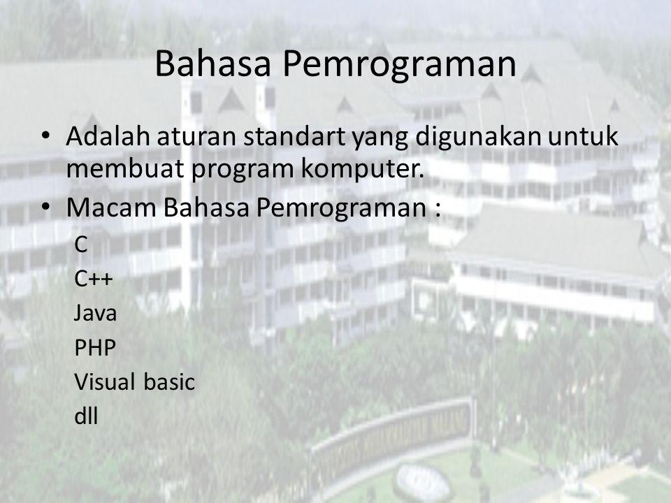 Bahasa Pemrograman Adalah aturan standart yang digunakan untuk membuat program komputer. Macam Bahasa Pemrograman : C C++ Java PHP Visual basic dll