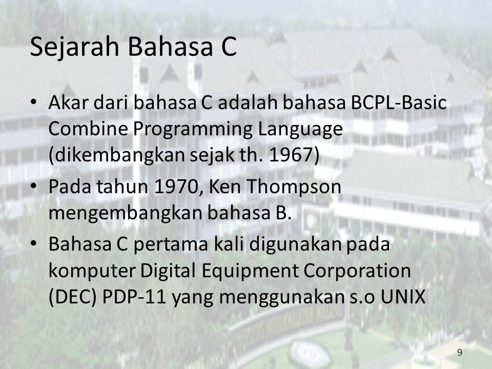 Sejarah Bahasa C Standar Bahasa C yang asli adalah standar dari UNIX ANSI (American National Standards Institute) membentuk suatu komite (ANSI committee X3J11) pada tahun 1983 yang kemudian menetapkan standar ANSI untuk bahasa C.