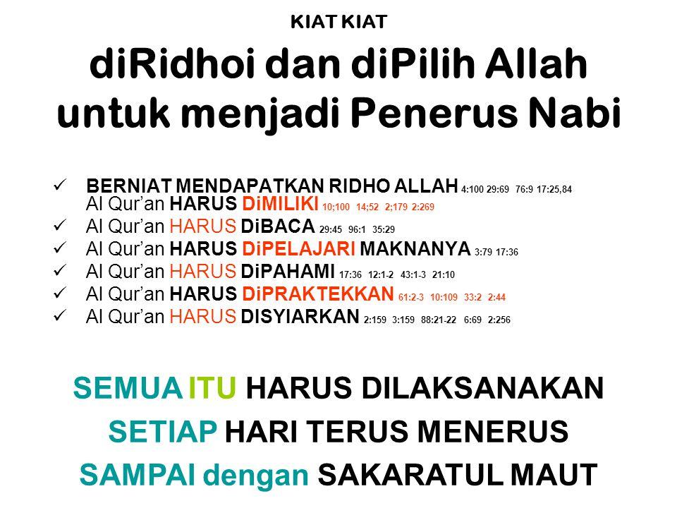 KIAT KIAT diRidhoi dan diPilih Allah untuk menjadi Penerus Nabi BERNIAT MENDAPATKAN RIDHO ALLAH 4:100 29:69 76:9 17:25,84 Al Qur'an HARUS DiMILIKI 10;