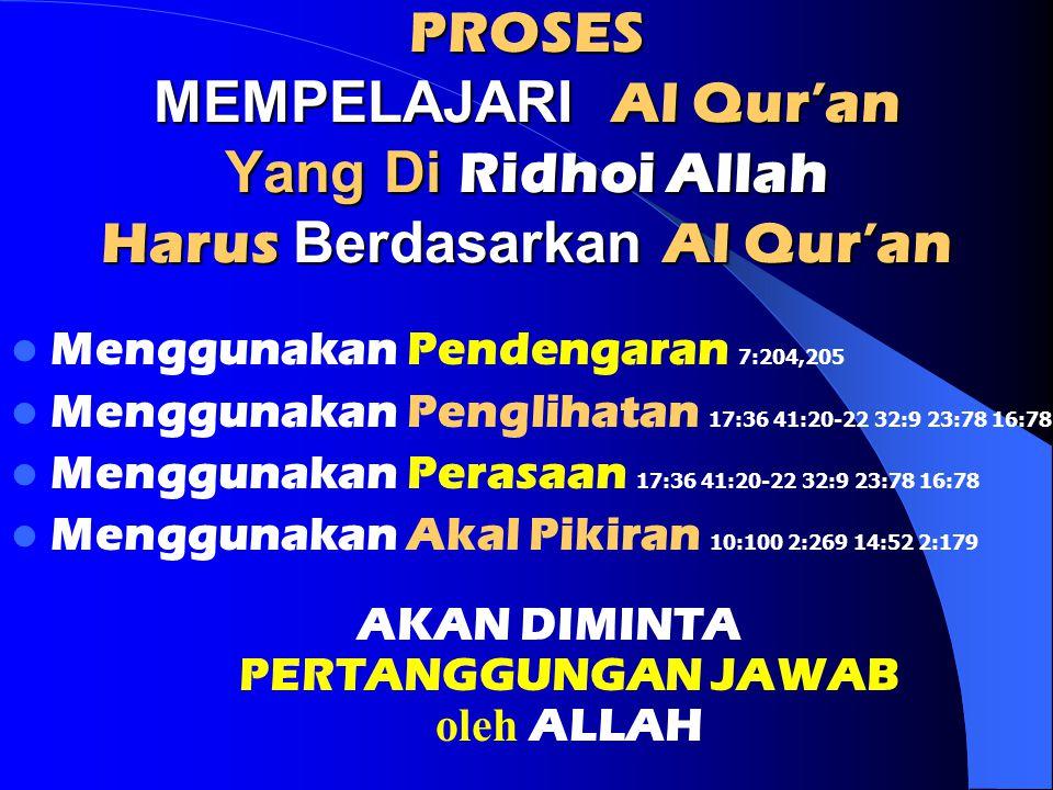 PROSES MEMPELAJARI Al Qur'an Yang Di Ridhoi Allah Harus Berdasarkan Al Qur'an Menggunakan Pendengaran 7:204,205 Menggunakan Penglihatan 17:36 41:20-22