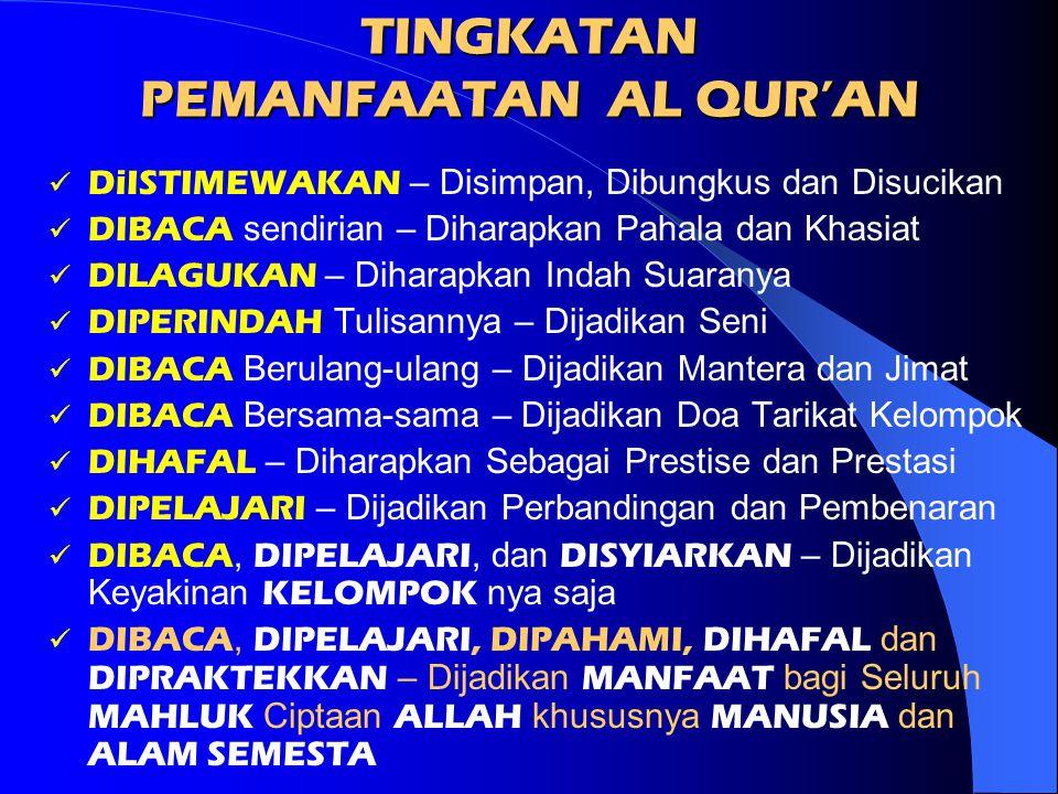 Oleh Karena Itu: Al Qur'an Harus Di BACA Al Qur'an Harus Di PELAJARI Al Qur'an Harus Di PAHAMI Al Qur'an Harus Di AMALKAN Al Qur'an Harus Di SYIARKAN Dan Semuanya Ini Harus Di PRAKTEKKAN Terus Menerus Untuk Dijadikan Rahmat, Manfaat Dan Kesejahteraan Bagi Seluruh Umat Manusia Dan Semesta Alam