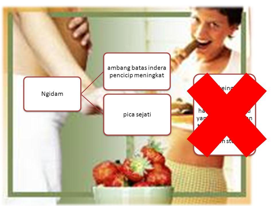Ngidam ambang batas indera pencicip meningkat pica sejati yaitu keinginan untuk makan bahan nonpangan.