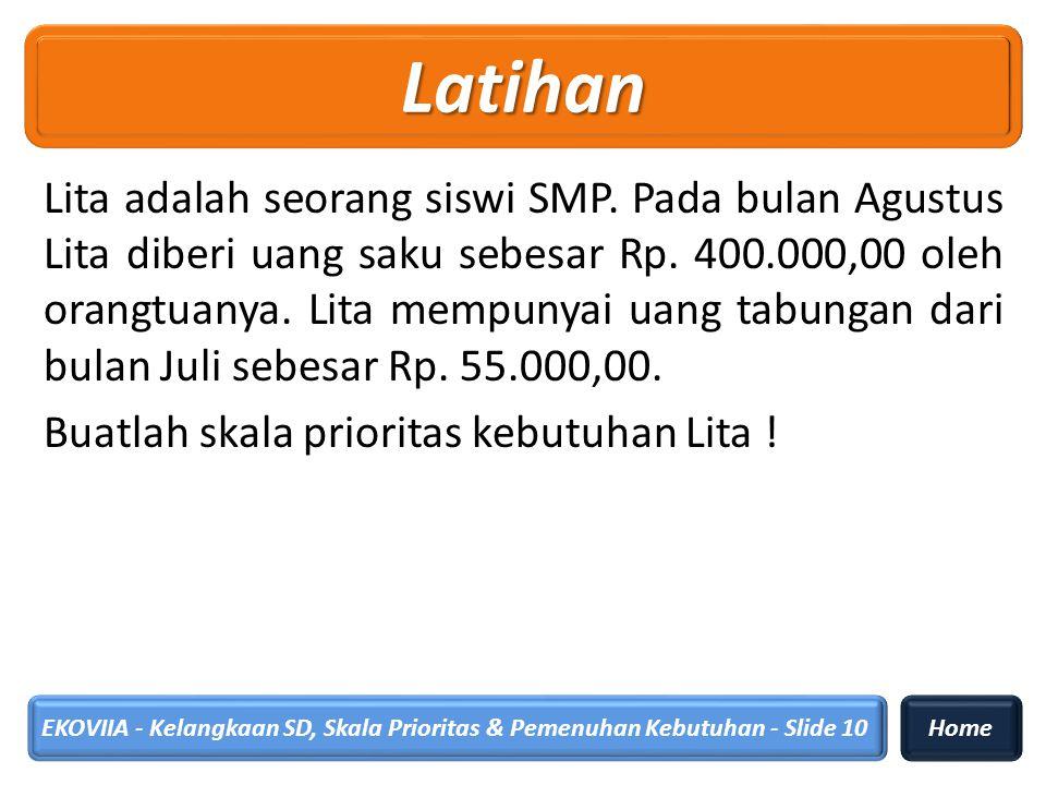 Lita adalah seorang siswi SMP. Pada bulan Agustus Lita diberi uang saku sebesar Rp. 400.000,00 oleh orangtuanya. Lita mempunyai uang tabungan dari bul