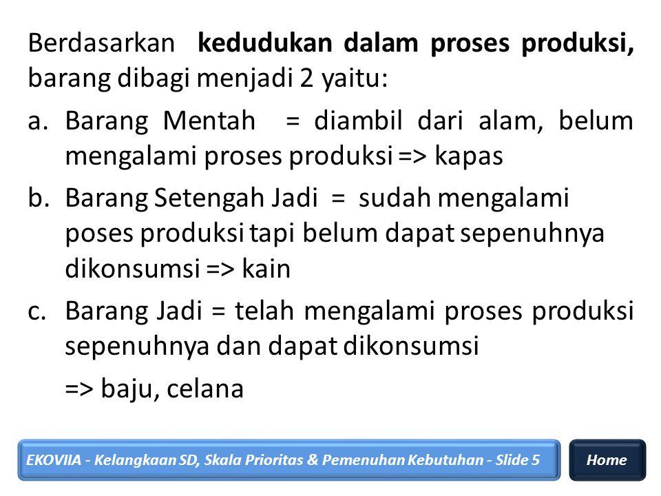 Berdasarkan kedudukan dalam proses produksi, barang dibagi menjadi 2 yaitu: a.Barang Mentah = diambil dari alam, belum mengalami proses produksi => ka