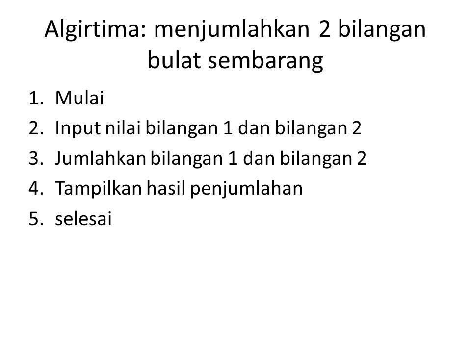Algirtima: menjumlahkan 2 bilangan bulat sembarang 1.Mulai 2.Input nilai bilangan 1 dan bilangan 2 3.Jumlahkan bilangan 1 dan bilangan 2 4.Tampilkan h