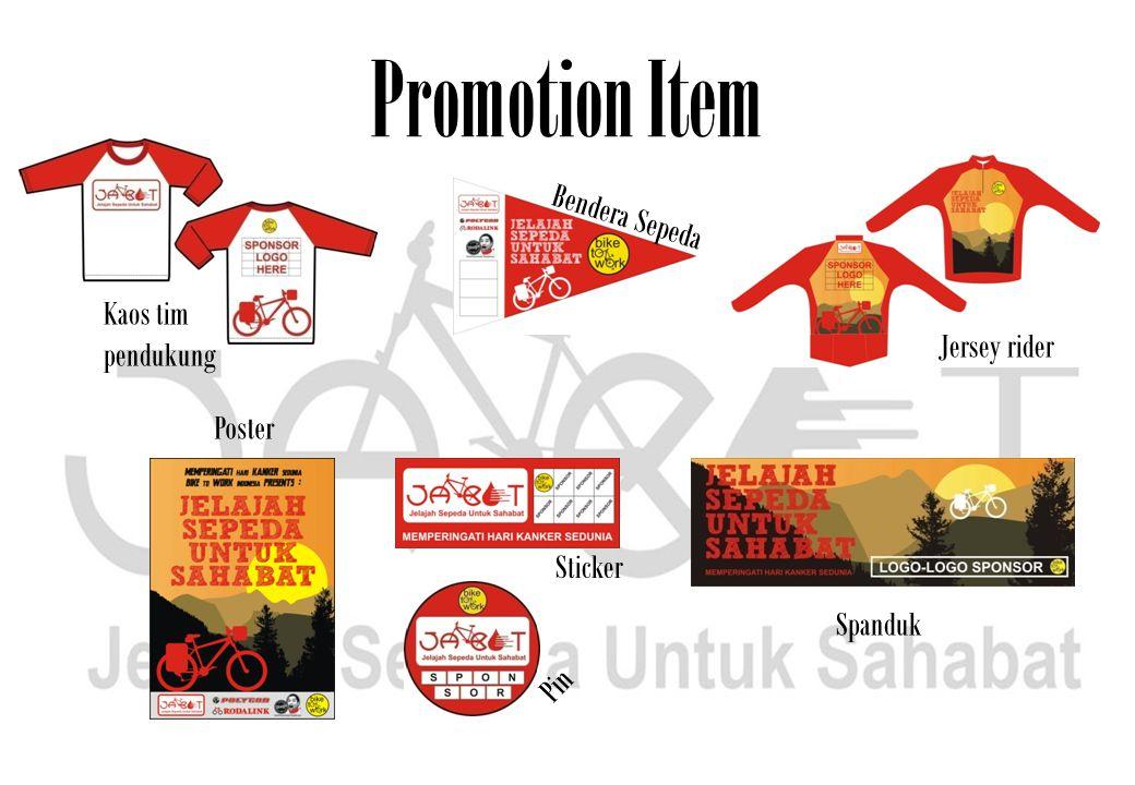 Promotion Item Bendera Sepeda Jersey rider Poster Pin Sticker Spanduk Kaos tim pendukung