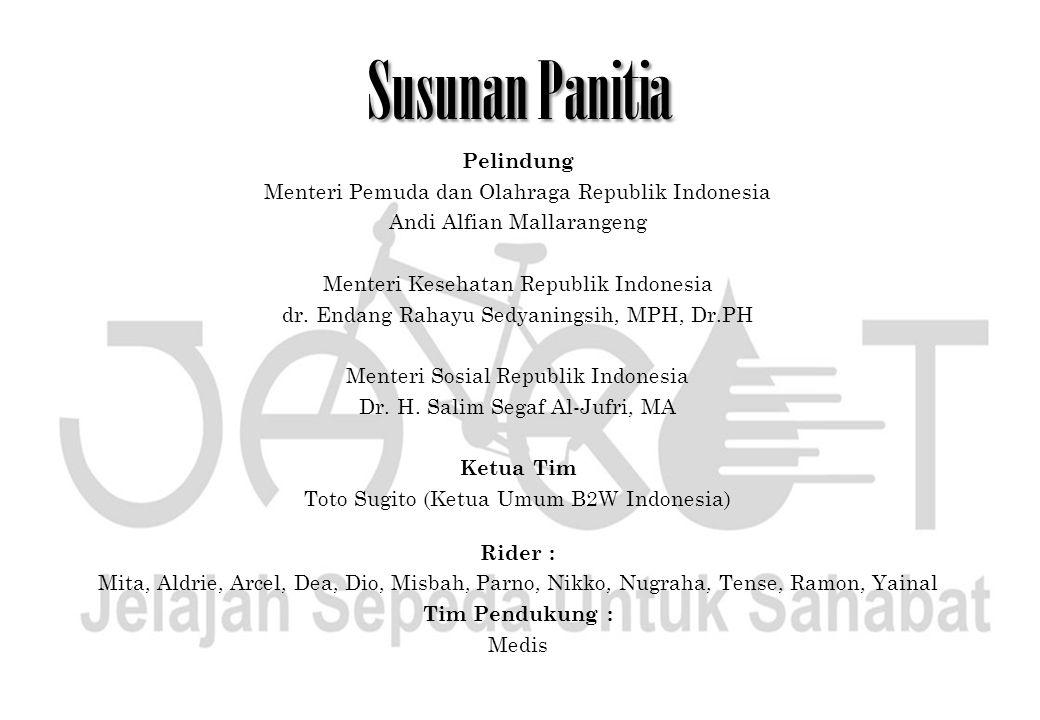 Susunan Panitia Pelindung Menteri Pemuda dan Olahraga Republik Indonesia Andi Alfian Mallarangeng Menteri Kesehatan Republik Indonesia dr. Endang Raha