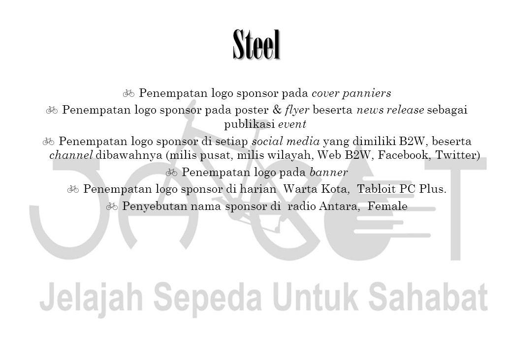 Steel  Penempatan logo sponsor pada cover panniers  Penempatan logo sponsor pada poster & flyer beserta news release sebagai publikasi event  Penem