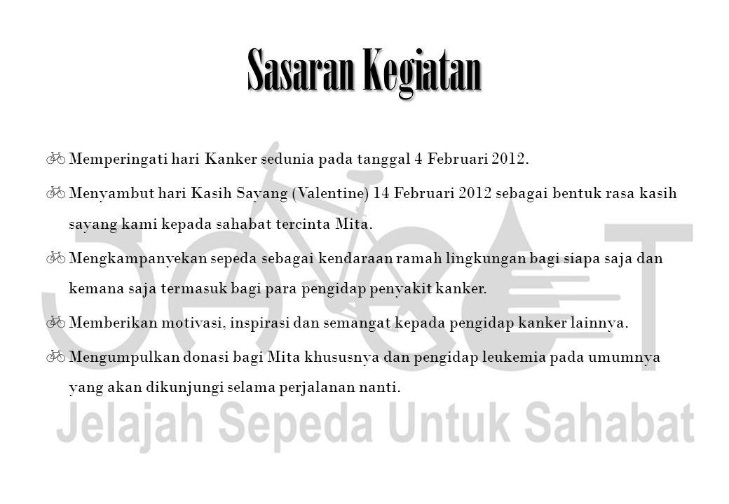 Sasaran Kegiatan  Memperingati hari Kanker sedunia pada tanggal 4 Februari 2012.  Menyambut hari Kasih Sayang (Valentine) 14 Februari 2012 sebagai b