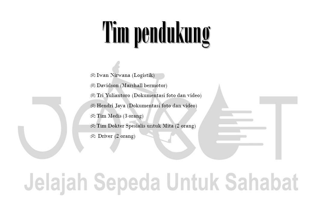 Tim pendukung  Iwan Nirwana (Logistik)  Davidson (Marshall bermotor)  Tri Yuliantoro (Dokumentasi foto dan video)  Hendri Jaya (Dokumentasi foto d