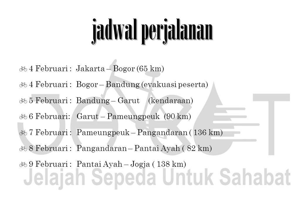 jadwal perjalanan  4 Februari : Jakarta – Bogor (65 km)  4 Februari : Bogor – Bandung (evakuasi peserta)  5 Februari : Bandung – Garut (kendaraan)