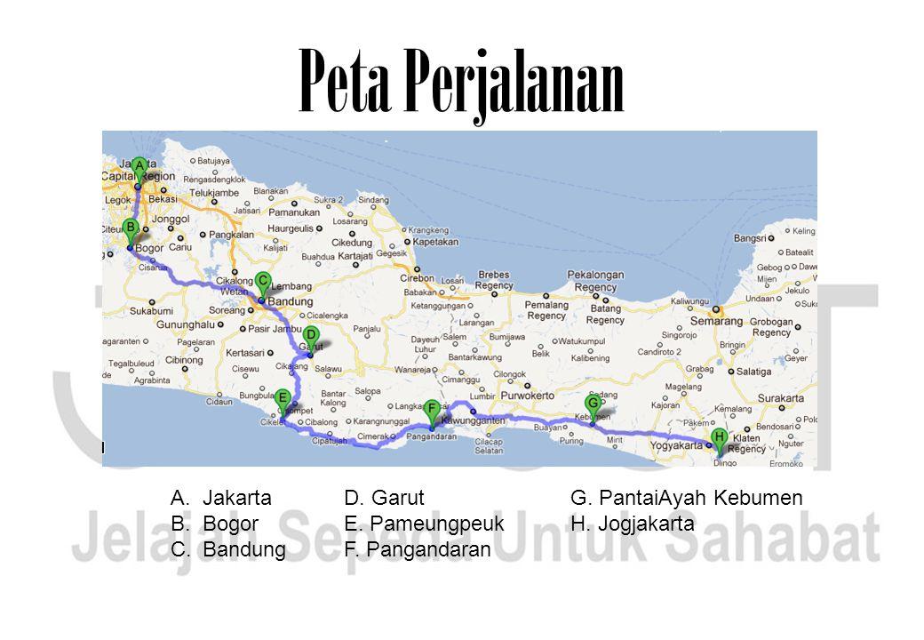 Peta Perjalanan A.Jakarta B.Bogor C.Bandung D. Garut E. Pameungpeuk F. Pangandaran G. PantaiAyah Kebumen H. Jogjakarta