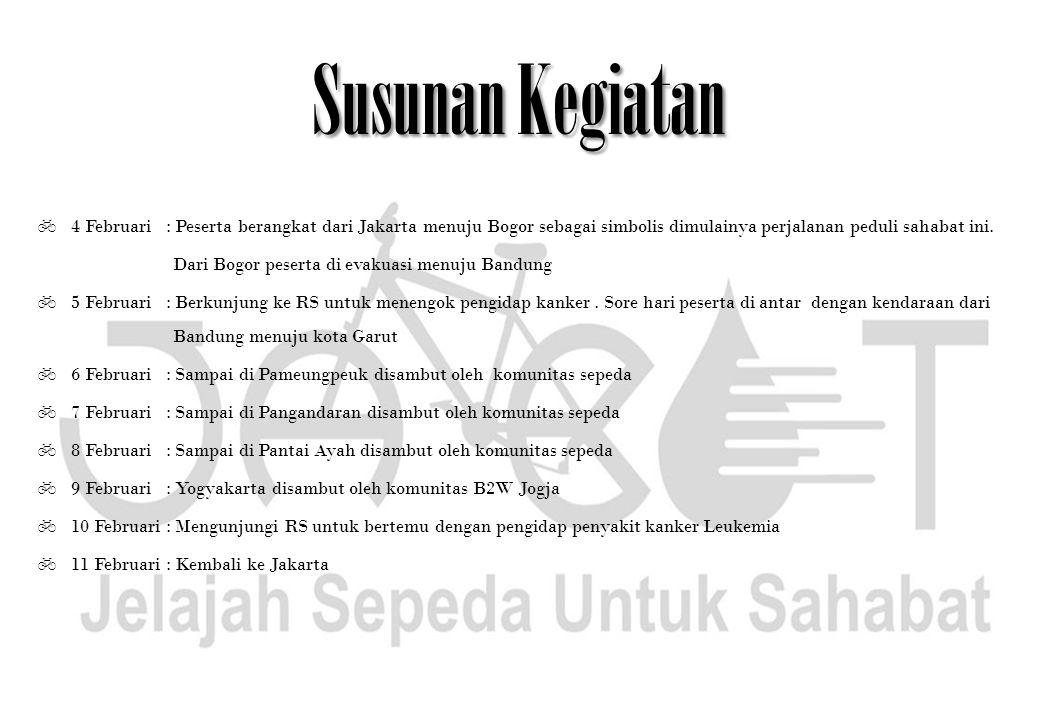 Susunan Kegiatan  4 Februari : Peserta berangkat dari Jakarta menuju Bogor sebagai simbolis dimulainya perjalanan peduli sahabat ini. Dari Bogor pese