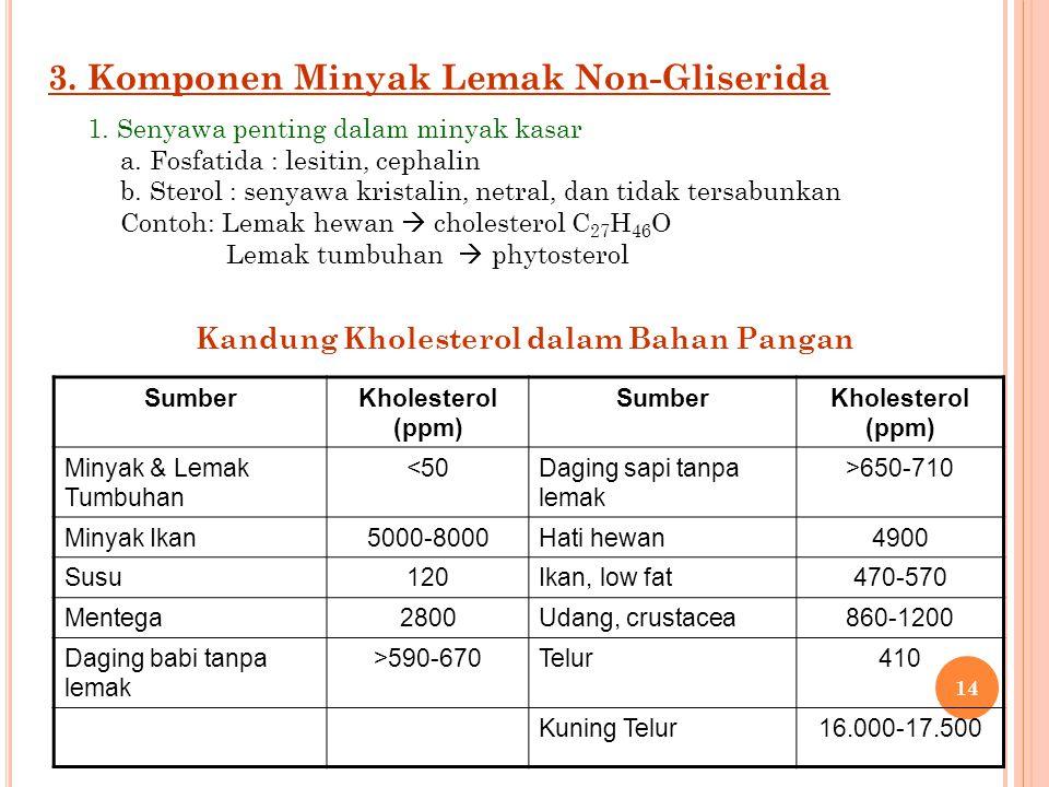3. Komponen Minyak Lemak Non-Gliserida 1. Senyawa penting dalam minyak kasar a. Fosfatida : lesitin, cephalin b. Sterol : senyawa kristalin, netral, d
