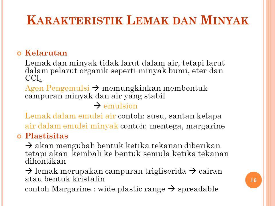 K ARAKTERISTIK L EMAK DAN M INYAK Kelarutan Lemak dan minyak tidak larut dalam air, tetapi larut dalam pelarut organik seperti minyak bumi, eter dan C