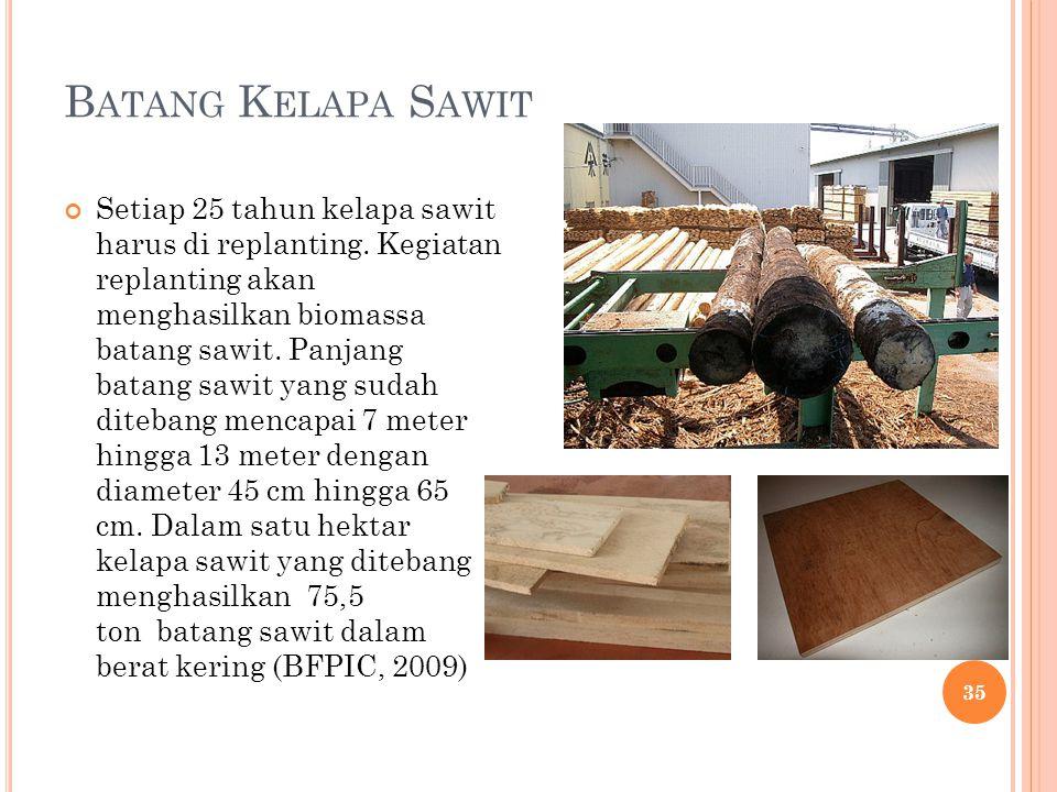 Setiap 25 tahun kelapa sawit harus di replanting. Kegiatan replanting akan menghasilkan biomassa batang sawit. Panjang batang sawit yang sudah diteban