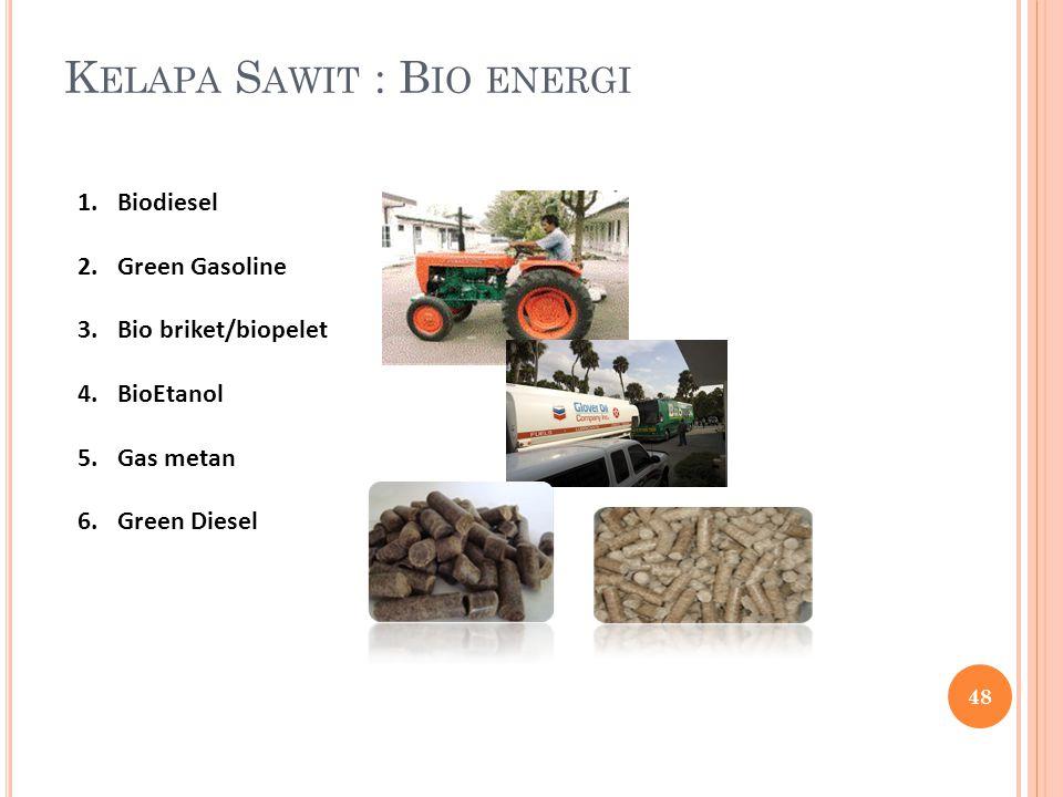 K ELAPA S AWIT : B IO ENERGI 1.Biodiesel 2.Green Gasoline 3.Bio briket/biopelet 4.BioEtanol 5.Gas metan 6.Green Diesel 48
