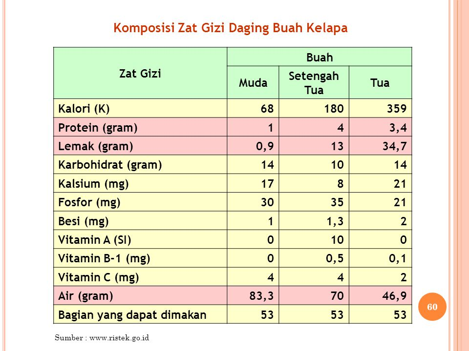 Komposisi Zat Gizi Daging Buah Kelapa Zat Gizi Buah Muda Setengah Tua Tua Kalori (K)68180359 Protein (gram)143,4 Lemak (gram)0,91334,7 Karbohidrat (gr