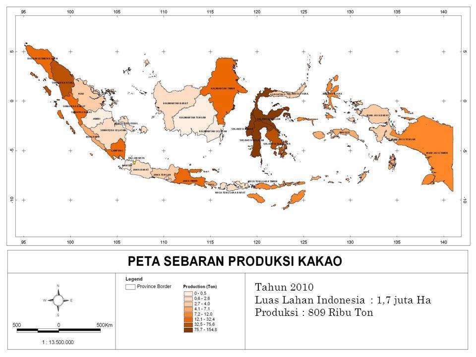 PETA PRODUKSI KAKAO Tahun 2010 Luas Lahan Indonesia : 1,7 juta Ha Produksi : 809 Ribu Ton 69
