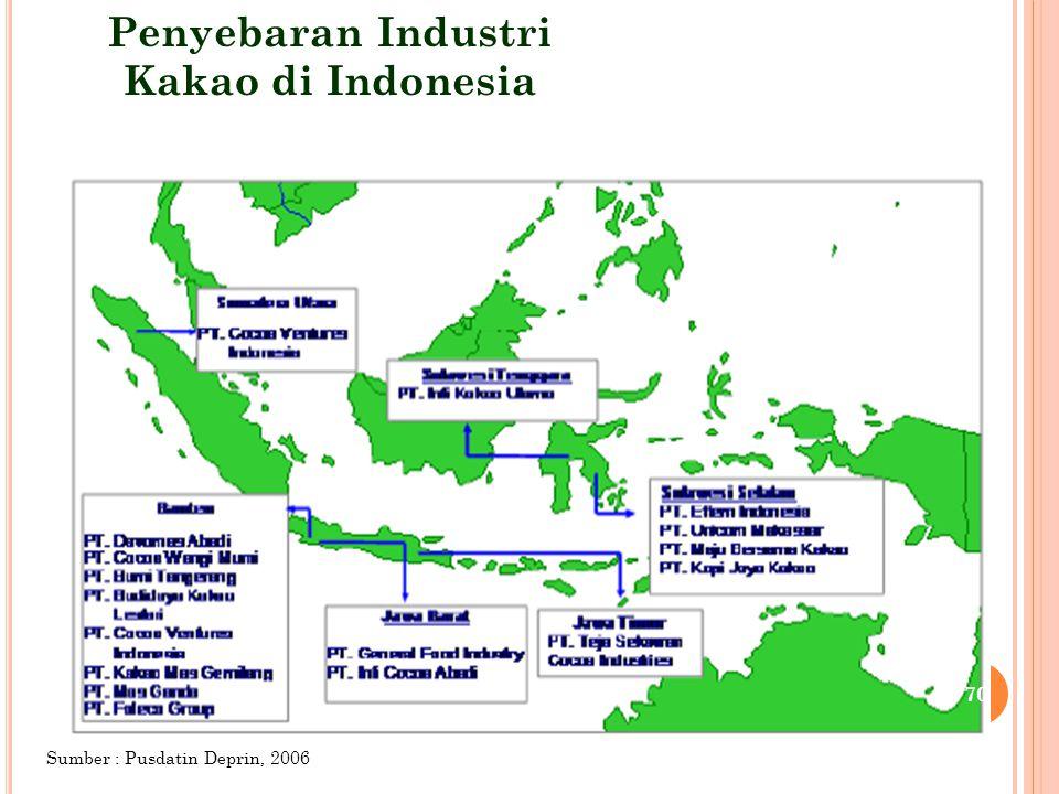 Penyebaran Industri Kakao di Indonesia Sumber : Pusdatin Deprin, 2006 70