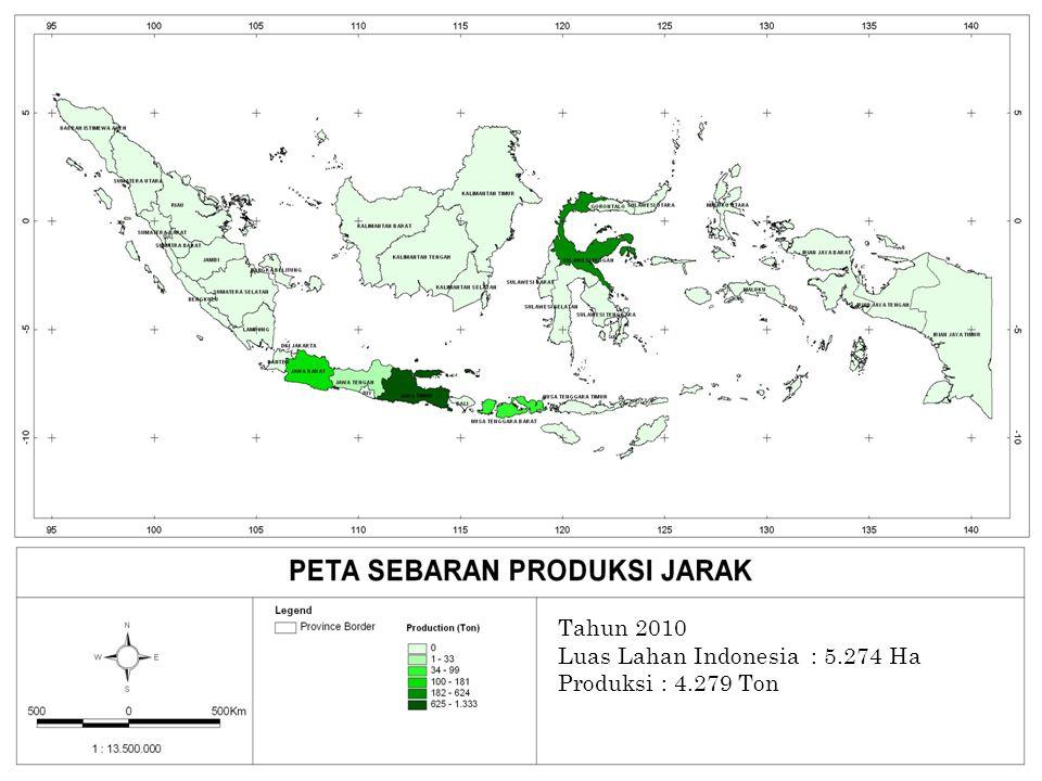 PETA PRODUKSI JARAK Tahun 2010 Luas Lahan Indonesia : 5.274 Ha Produksi : 4.279 Ton 86