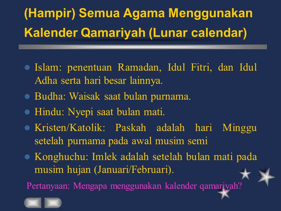 (Hampir) Semua Agama Menggunakan Kalender Qamariyah (Lunar calendar) Islam: penentuan Ramadan, Idul Fitri, dan Idul Adha serta hari besar lainnya. Bud