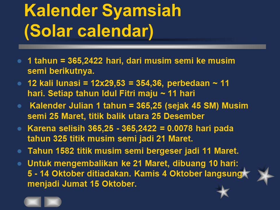 Kalender Syamsiah (Solar calendar) 1 tahun = 365,2422 hari, dari musim semi ke musim semi berikutnya. 12 kali lunasi = 12x29,53 = 354,36, perbedaan ~
