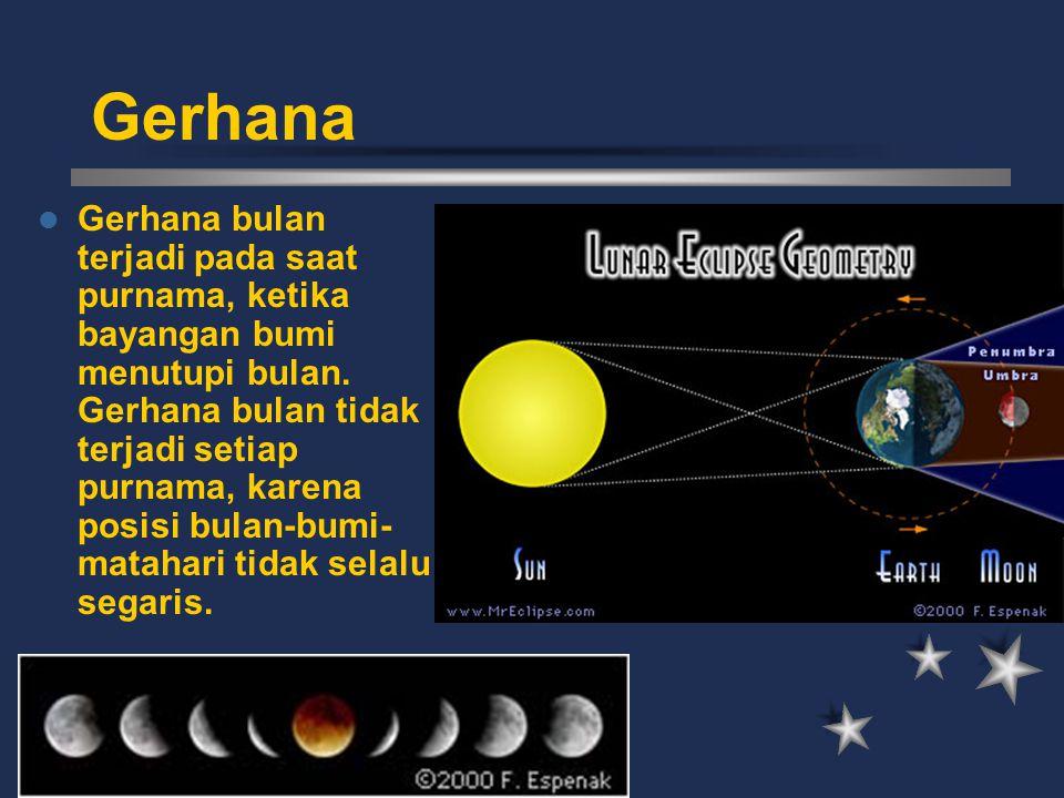 Gerhana Gerhana bulan terjadi pada saat purnama, ketika bayangan bumi menutupi bulan. Gerhana bulan tidak terjadi setiap purnama, karena posisi bulan-