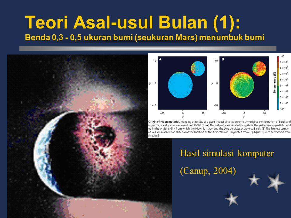 Teori Asal-usul Bulan (1): Benda 0,3 - 0,5 ukuran bumi (seukuran Mars) menumbuk bumi Hasil simulasi komputer (Canup, 2004)