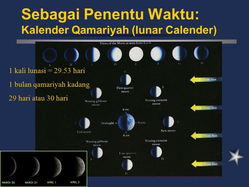 Sebagai Penentu Waktu: Kalender Qamariyah (lunar Calender) 1 kali lunasi = 29.53 hari 1 bulan qamariyah kadang 29 hari atau 30 hari