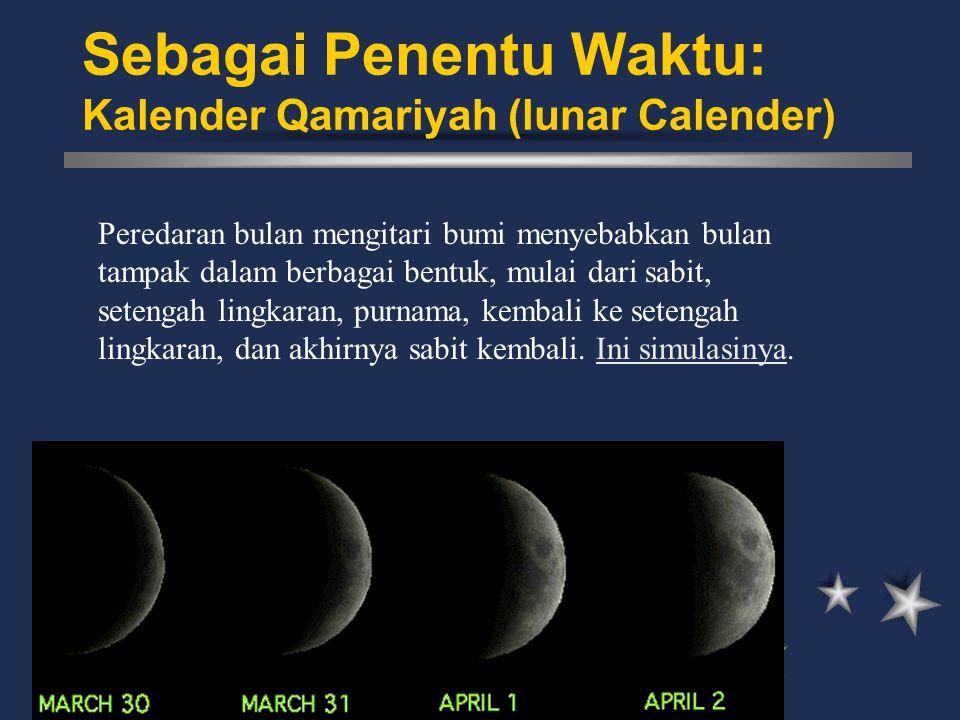 Peredaran bulan mengitari bumi menyebabkan bulan tampak dalam berbagai bentuk, mulai dari sabit, setengah lingkaran, purnama, kembali ke setengah ling