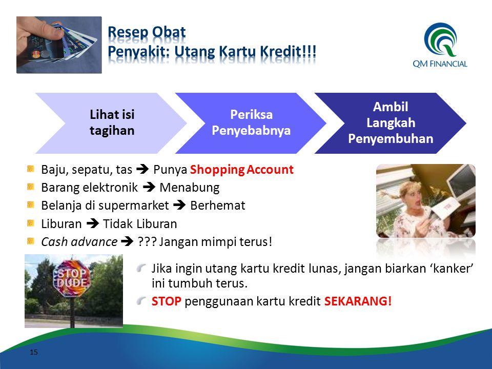 Baju, sepatu, tas  Punya Shopping Account Barang elektronik  Menabung Belanja di supermarket  Berhemat Liburan  Tidak Liburan Cash advance  ??? J