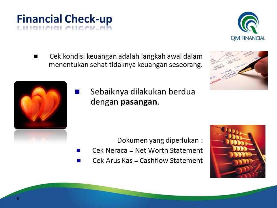 Cek kondisi keuangan adalah langkah awal dalam menentukan sehat tidaknya keuangan seseorang. Sebaiknya dilakukan berdua dengan pasangan. Dokumen yang