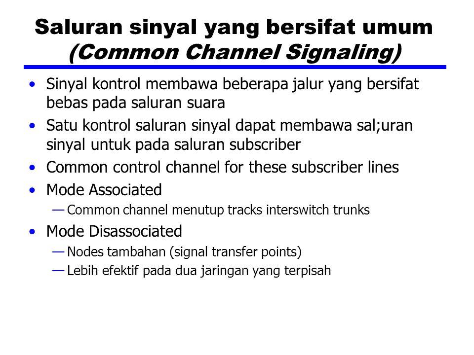 Saluran sinyal yang bersifat umum (Common Channel Signaling) Sinyal kontrol membawa beberapa jalur yang bersifat bebas pada saluran suara Satu kontrol