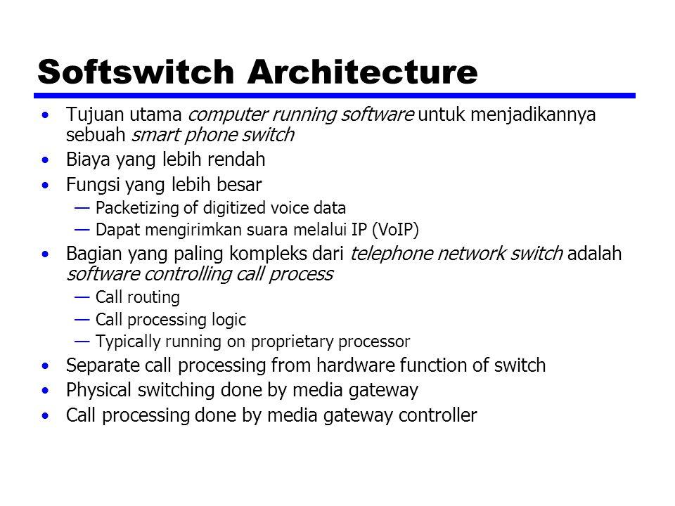 Softswitch Architecture Tujuan utama computer running software untuk menjadikannya sebuah smart phone switch Biaya yang lebih rendah Fungsi yang lebih