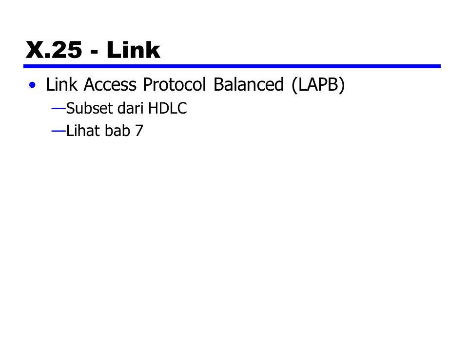 X.25 - Link Link Access Protocol Balanced (LAPB) —Subset dari HDLC —Lihat bab 7