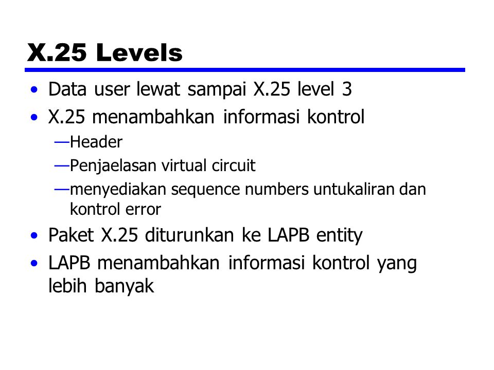 X.25 Levels Data user lewat sampai X.25 level 3 X.25 menambahkan informasi kontrol —Header —Penjaelasan virtual circuit —menyediakan sequence numbers